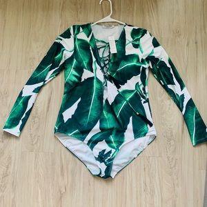 Tropical leaves Swimsuit Longsleeve -MarinaVida